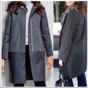 J. Crew Coat Jacket Wool and Leather Size 8